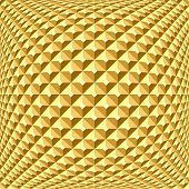 Golden checked relief pattern. Abstract textured background. 3D optical illusion. Vector art. poster