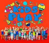 Kids Play Imagination Hobbies Leisure Games Concept poster