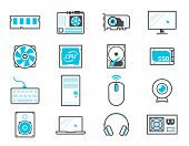 Computer components icon set: processor, motherboard, RAM, video card, hdd,ssd, sshd, power unit, cooler poster