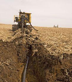 Farmland Drainage Tiling Machine At Work