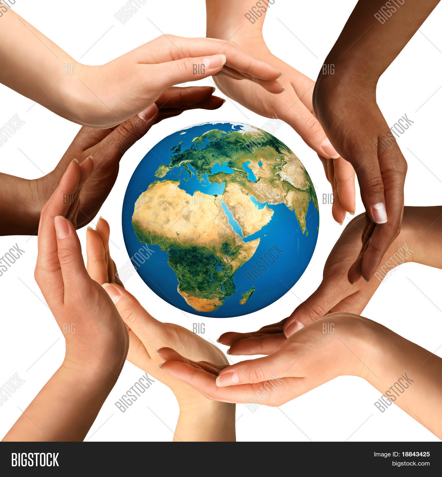 Conceptual symbol multiracial human image photo bigstock conceptual symbol of multiracial human hands surrounding the earth globe unity world peace biocorpaavc