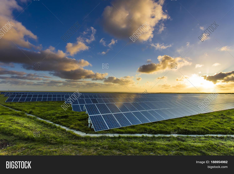 Solar Panels Sunrise Image & Photo (Free Trial) | Bigstock