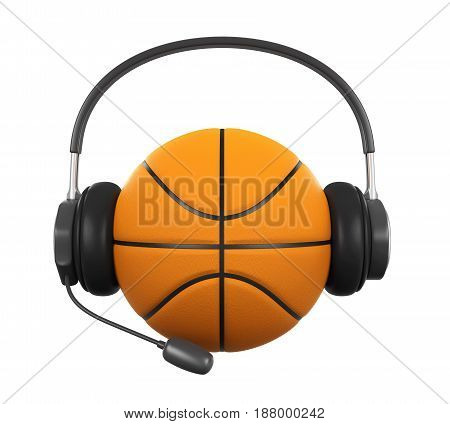 Basketball Ball with Headset isolated on white background. 3D render