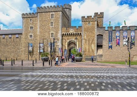 Cardiff Wales - May 20 2017: Cardiff Castle entrance wide angle view