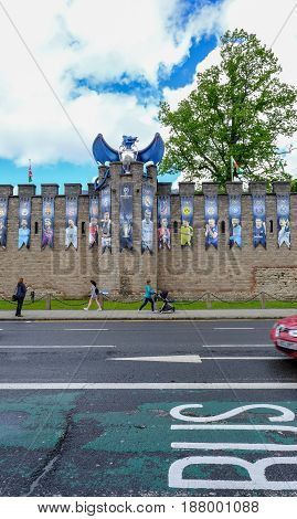 Cardiff Wales - May 20 2017: Cardiff Castle wall decorated with UEFA Cup final banners