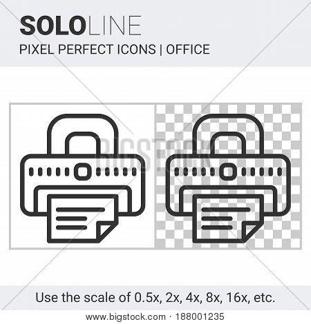 Pixel perfect solo line printer icon on white and transparent background for responsive web or product design. Designed for use on most web sites and applications