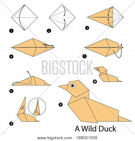 step by step instructions how to make origami A Wild Duck.