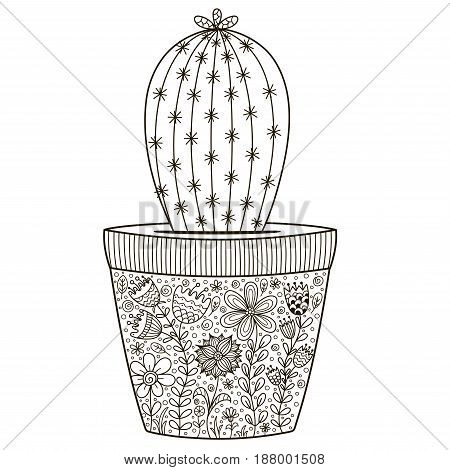 Doodle cactus in the pot with floral ornament for coloring book. Hand drawn outline succulent for anti stress coloring book. Vector illustration