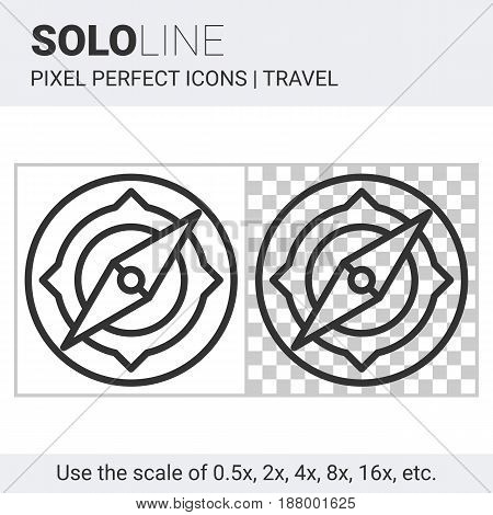 Pixel perfect solo line compass icon on white and transparent background for responsive web or product design. Can be used in web sites and apps for travel map and navigation