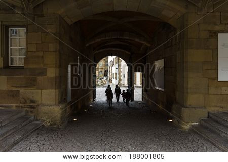 STUTTGART GERMANY - MARCH 01 2017: Entrance to the inner courtyard of the Old Castle (10th century). Stuttgart is the capital and the largest city of the state of Baden-Wuerttemberg.