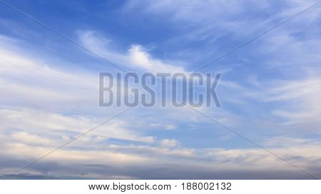 Sky and fluffy  clouds on summer background.