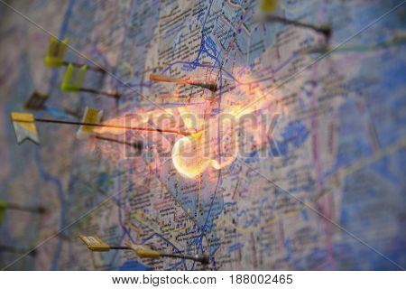 Map with pushpin on fire location .
