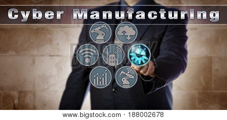 Blue chip operations manager is activating Cyber Manufacturing via a virtual control matrix. Industrial concept for cyber-physical systems industry 4.0 smart factory and real-time data transfer.