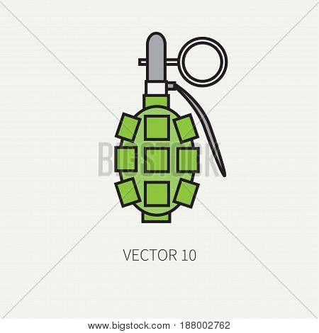 Line flat color vector military icon - hand grenade. Army equipment and weapons. Cartoon style. Assault. Soldiers. Armament. Ammunition. Vector illustration and element for your design , wallpaper.