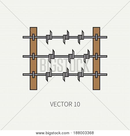 Line flat color vector military icon - barbed wire. Army equipment and weapons. Cartoon style. Assault. Soldiers. Armament. Ammunition. Vector illustration and element for your design , wallpaper.