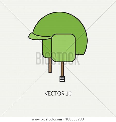 Line flat color vector military icon - army helmet. Army equipment and weapons. Cartoon style. Assault. Soldiers. Armament. Ammunition. Vector illustration and element for your design , wallpaper.