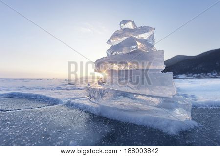Ice Floe Pyramid. Lake Baikal. Sunset Landscape
