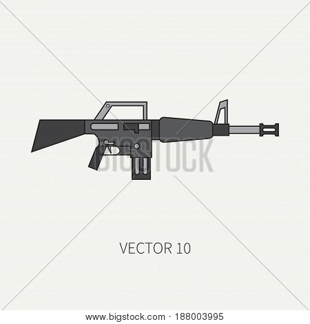 Line flat color vector military icon - machine gun. Army equipment and weapons. Cartoon style. Assault. Soldiers. Armament. Ammunition. Vector illustration and element for your design , wallpaper.