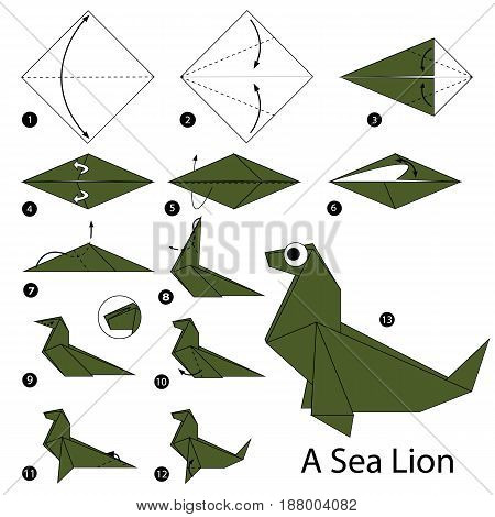 Step by step instructions how to make origami A Sea Lion.