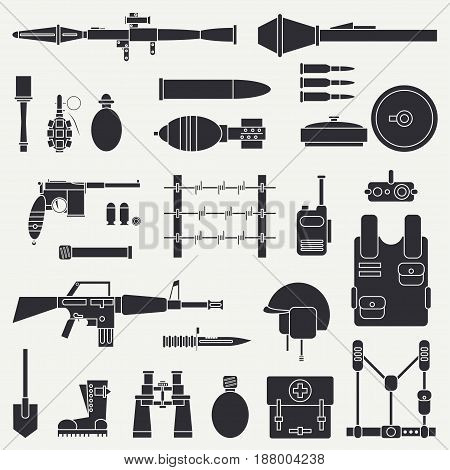 Silhouette. Line flat vector military icon set. Army equipment and weapons. Cartoon style. Assault. Soldiers. Armament. Ammunition. Retro. Vector illustration and element for your design , wallpaper