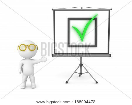 3D Character showing check sign on projector screen. I can depict success.