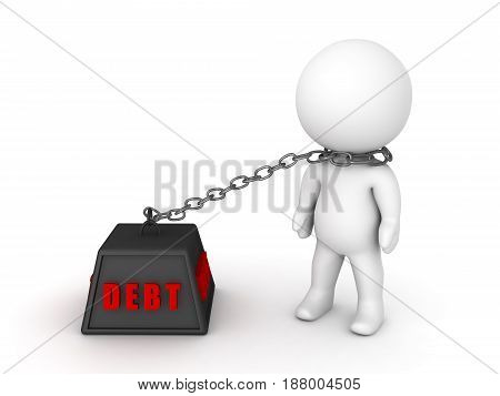 3D Character chained to debt. Image depicting financial burden.