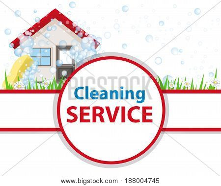 Poster clean house. Banner for advertising service cleaning. Wash the home. Vector illustration.