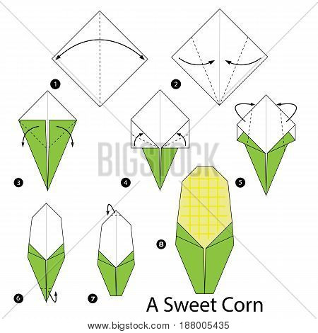 step by step instructions how to make origami a Sweet Corn.