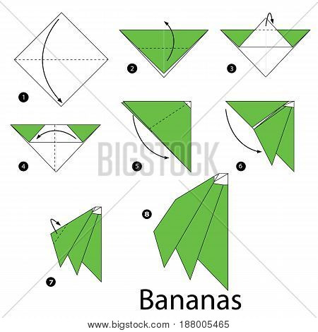 Step by step instructions how to make origami Bananas.