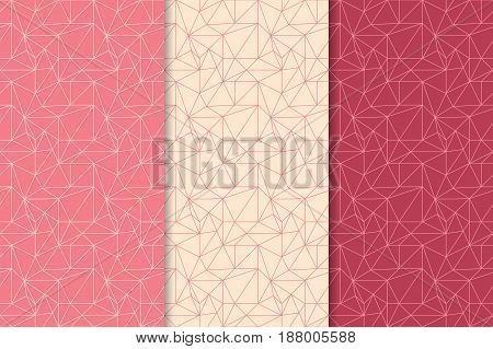 Abstract colored seamless pattern. Red polygonal collection. Vector illustration