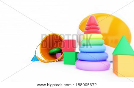 Toys alphabet cube beach ball pyramid 3D illustration