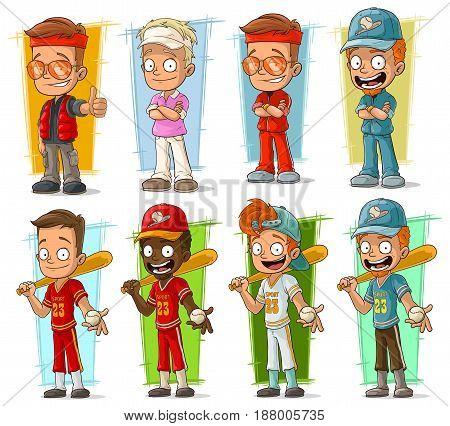 Cartoon smiling sportsmen and baseball players characters big vector set