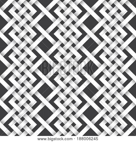 Abstract repeatable pattern background of white twisted strips. Swatch of intertwined zigzag and straight lines. Seamless pattern in vintage style.