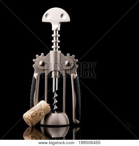 Metal Wine Corkscrew Isolated
