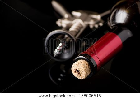 Red Wine Bottle Open With Corkscrew