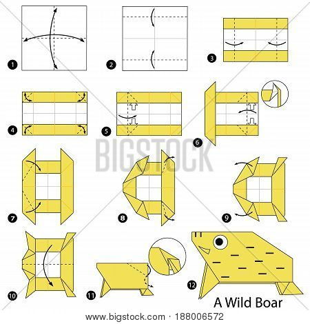 step by step instructions how to make origami A Wild Boar.