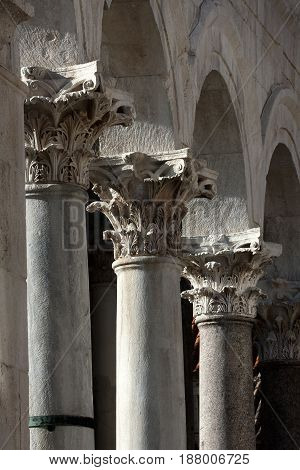 Corinthian's columns on the Peristyle in Diocletian's palace Split in Croatia