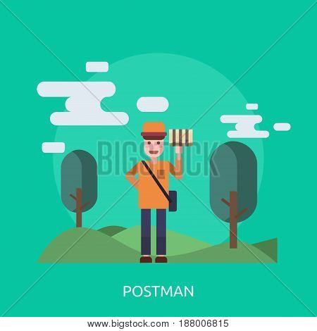 Postman Conceptual Design | Great flat illustration concept icon and use for cargo, delivery, transportation, business and much more