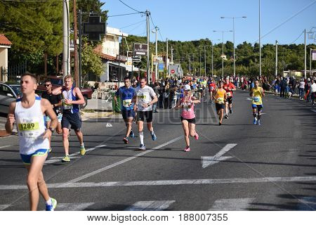 ATHENS - GREECE - NOV 8: 33nd Athens Classic Marathon. Over 45000 athletes from dozens of countries took part in the classic authentic marathon November 8 2015 in Marathon City Athens Greece