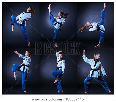 The karate girl in white kimono and black belt training karate over gray background. Collage