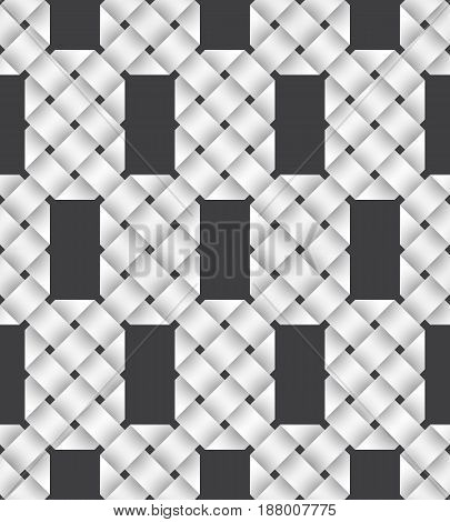 Abstract repeatable pattern background of white twisted strips. Swatch of intertwined paper ribbons. Seamless pattern with volume effect.