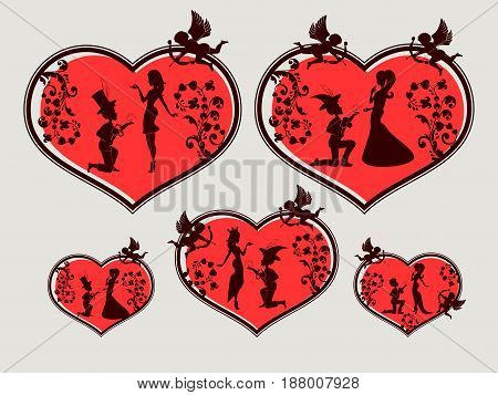 design of red heart with pattern and silhouettes of a boy and a girl , Princess, retro set