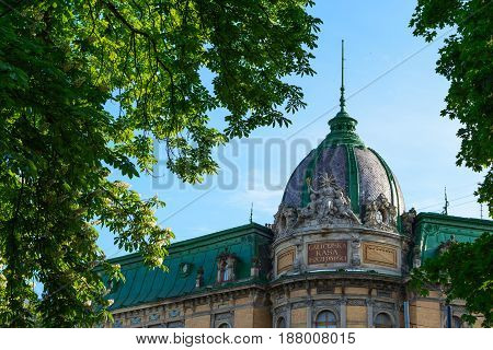 Seated Statue of Liberty on the roof. The Ethnographic Museum in Lviv city. Ukraine.