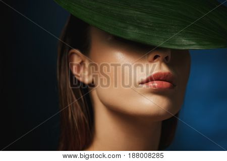 Closeup of young beautiful woman covering eyes with fresh green leaf. Dark background. Fashion concept.