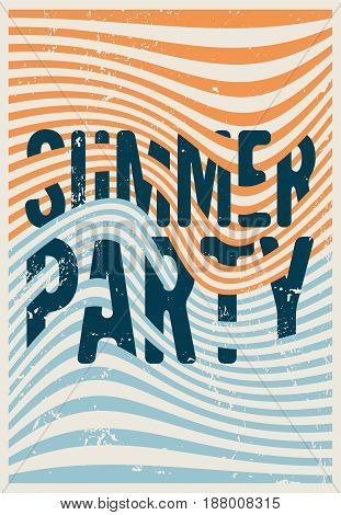 Summer Party typographic vintage grunge poster design with misshapen lines abstract geometric background. Retro vector illustration.