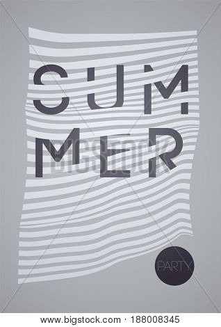 Summer Party typographic poster design on misshapen lines abstract geometric background. Vector illustration.