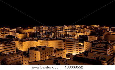 Cityscape in golden highlights tilt shift. 3d illustration