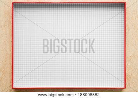 Rectangle Box With Red Exterior And Checkered Interior