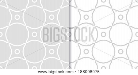 Geometric seamless pattern. Gray background with circle elements. Vector illustration