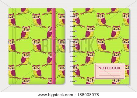 Notebook cover design. Notepad with elastic band and spiral pad. Cute colorful collection with hand drawn owls. Vector set.